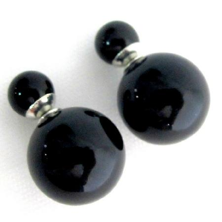 Black Pearl Double Sided Earrings Bridesmaid Double Sided Earrings
