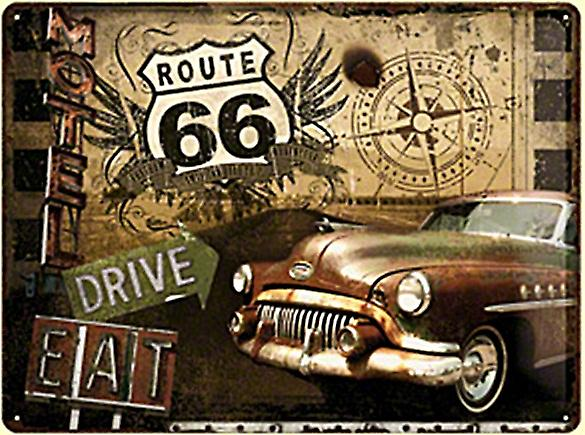 Route 66 American Car weathered embossed large metal sign  (NA3040)