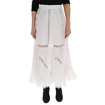 Wandering White Cotton Skirt