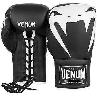 VENUM gigant 2.0 snøre læder Pro boksehandsker - sort/hvid