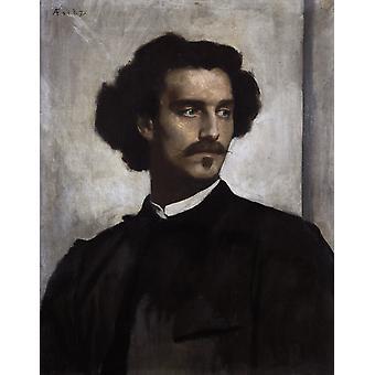 Selvportrett, Anselm Feuerbach, 50x40cm