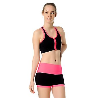 Jerf- Womens-santos - Black And Pink- Sport Bra With Zip