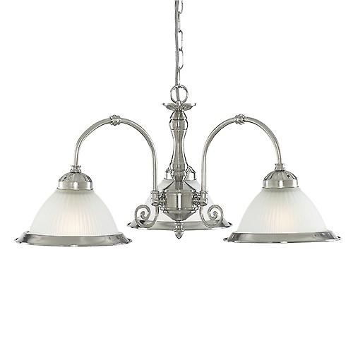 Searchlight 1043-3 American Diner 3 Arm Ceiling Pendant With Ribbed Opaque Glass
