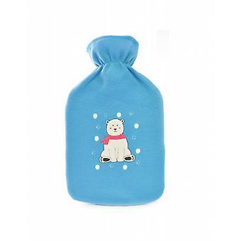 Applique Polar Bear Blue Fleece Hot Water Bottle