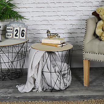 Black Metal Basket Side Table