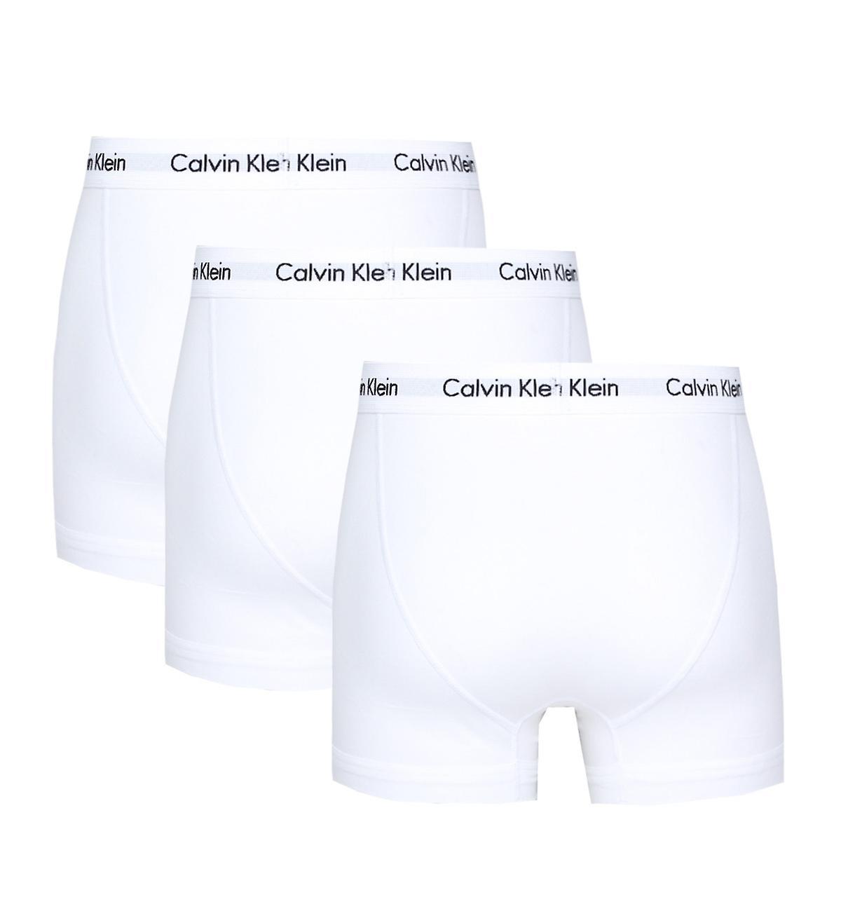 Calvin Klein 3 Pack White Cotton Stretch Trunks