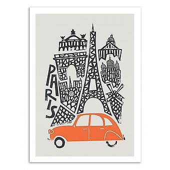 Konst-affisch-Paris-räv och sammet 50 x 70 cm