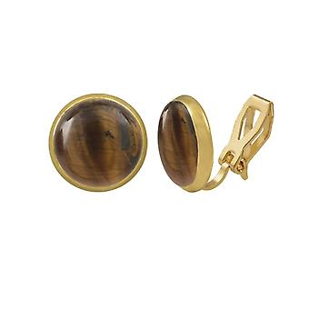 Eternal Collection Symphony Tiger's Eye Gold Stud Clip On Earrings
