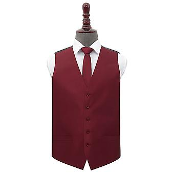 Burgundy Shantung Wedding Waistcoat & Tie Set