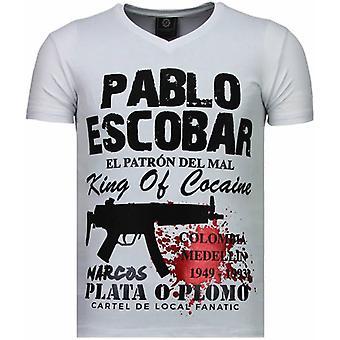 Pablo Escobar Narcos-Rhinestone T-shirt-White