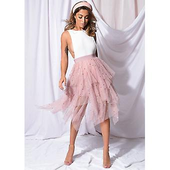 High Waisted Tiered Tulle Star Sequin Skirt Pink