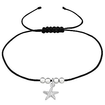 Starfish - 925 Sterling Silver + Nylon Cord Corded Bracelets - W38994X