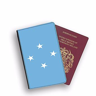 MACRONESIA Flag Passport Holder Style Case Cover Protective Wallet Flags design