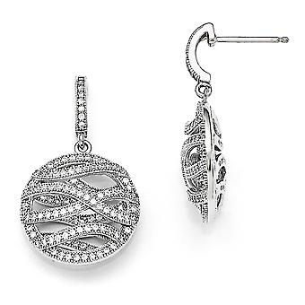 925 Sterling Silver Pave Rhodium-plated and Cubic Zirconia Polished Round Dangle Post Earrings