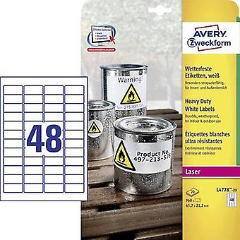 Avery-Zweckform L4778-20 Labels (A4) 45.7 x 21.2 mm Polyester film White 960 pc(s) Permanent All-purpose labels, Weather