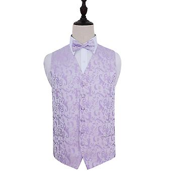 Lilac Passion Floral Patterned Wedding Waistcoat & Bow Tie Set