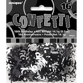 16th Birthday Confetti Table Decoration - Black & Silver Confetti 14g