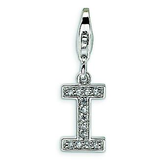 Sterling Silver Cubic Zirconia Letter I With Lobster Clasp Charm - Measures 24x8mm