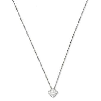 Gift Boxed Spring Ring Rhodium-plated Bezel Princess Cut Cubic Zirconia Necklace - 18 Inch