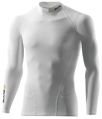 SKINS G400 Men's Sport Thermal Compression Long Sleeve Top mock neck white - B10005059