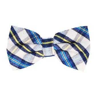 Andrews & co. fly tied loop bow tie grotesque Plaid white blue yellow
