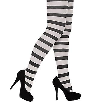 Adult Halloween/Fancy Dress Black And White Stripy Tights