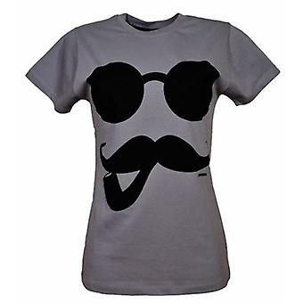 Cosmic Womens Tshirt Pipe And Tash Grey Moustache
