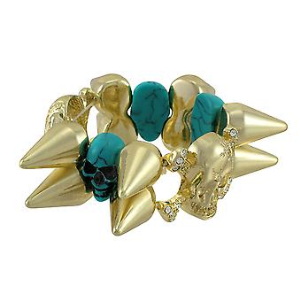 Gold-tone Spiked Stretch Bracelet w/ Turquoise Skulls