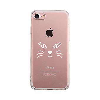 Gato cara transparente teléfono caso lindo claro Phonecase para amante de gatos