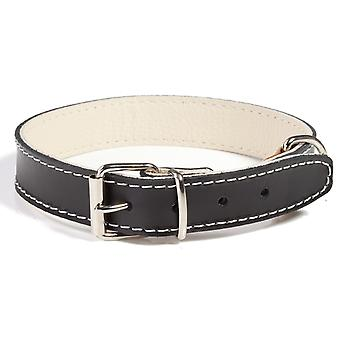 Doggy Things Plain Leather Dog Collar Black 30cm