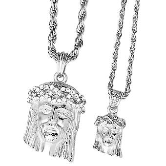 Iced out bling mini chain pendant set - 2 x JESUS silver