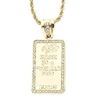Iced out bling hip hop chain - FINE GOLD gold
