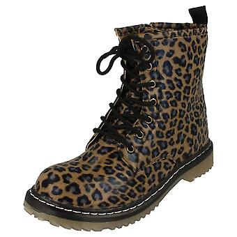 Girls Spot On Heeled Lace Up Leopard Print Boots