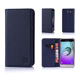 32. klassische Real Leather Wallet für Samsung Galaxy J3 (2017) J327P - Marineblau