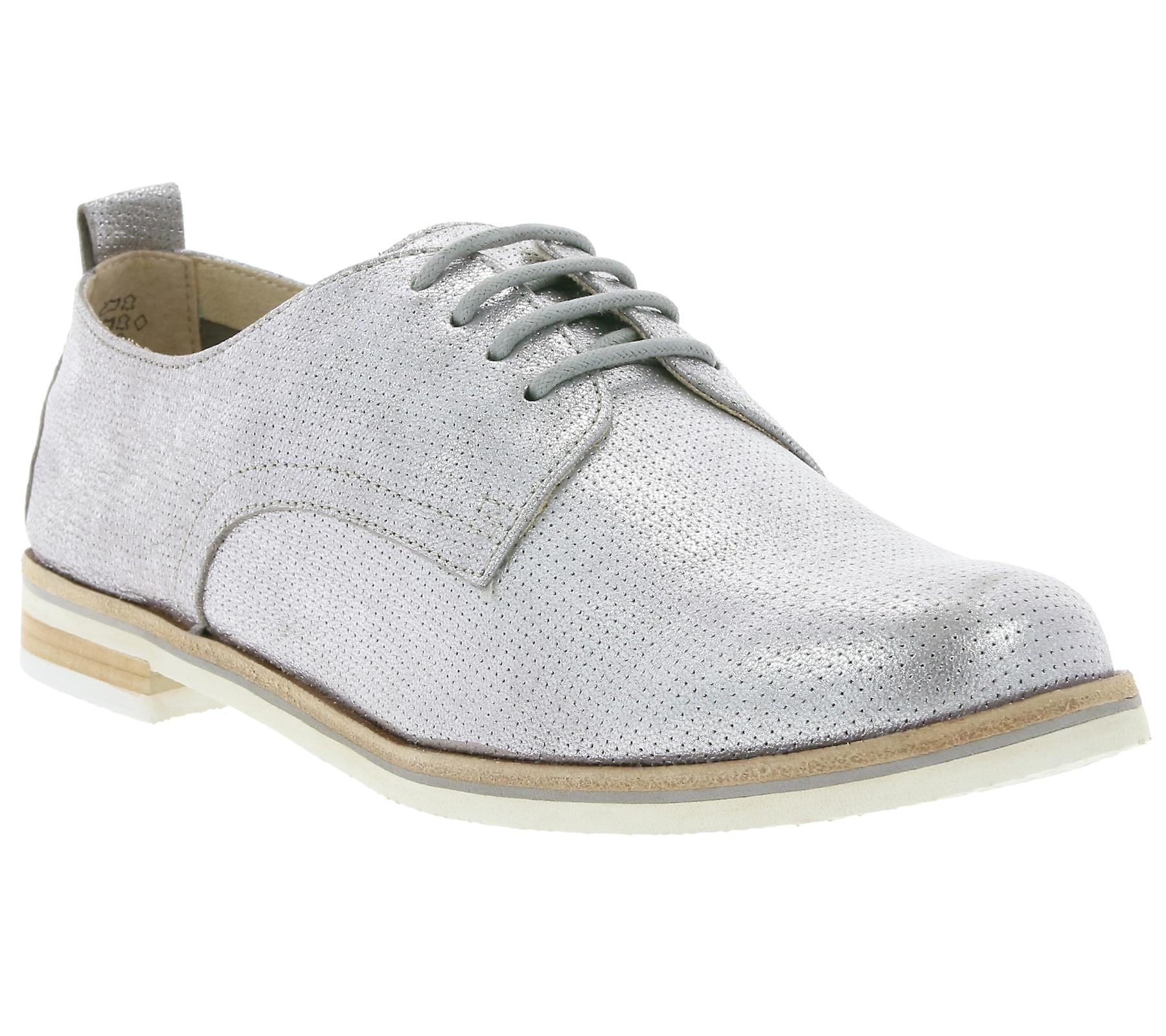 CAPRICE Alba shoes ladies real leather flat shoes Alba silver metal 20e53e