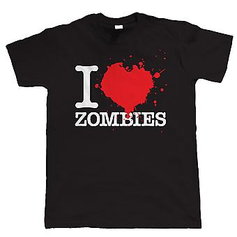 I Love Zombies, Mens Funny Tshirt