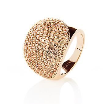22ct Rose goud Vermeil Micro Pave verklaring Cocktail Ball Ring - Champagne Zircon
