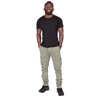 Men's Cargo Trousers - Slim Fit - Green Mens Combat Pants Offset Zip Detail