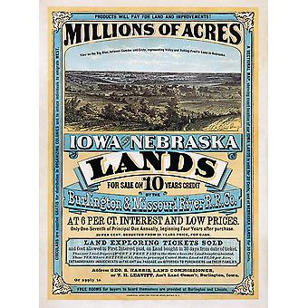 Iowa and Nebraska Poster Print Giclee