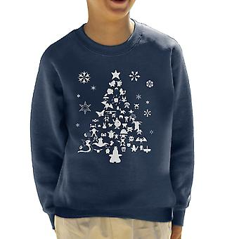 Pokemon juletræ silhuet hvid børne Sweatshirt