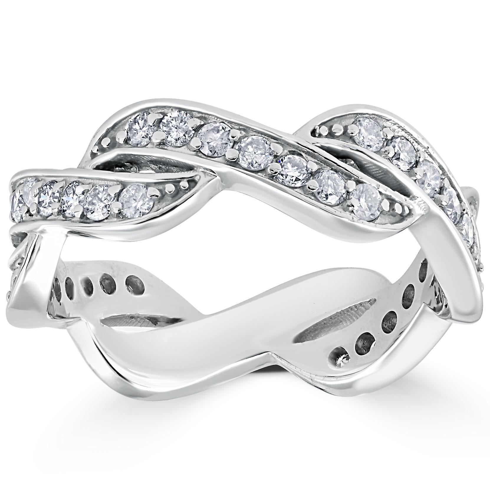 5/8 CT Diamond Infinity Anniversary Wedding Ring 14K White Gold