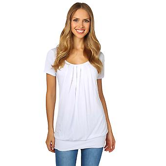 KRISP  Womens Ladies Plain Loose Pleated Long Jersey Top T Shirt Tunic Blouse Plus 8-20