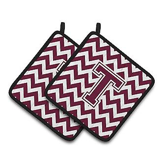 Carolines Treasures  CJ1051-PTHD-Parent Letter Chevron Maroon and White  Pair of