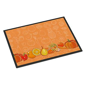 Fruits and Vegetables in Orange Indoor or Outdoor Mat 18x27