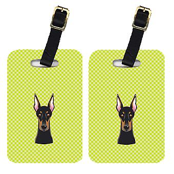 Pair of Checkerboard Lime Green Doberman Luggage Tags