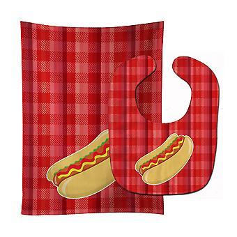 Carolines skarby BB6813STBU Hot Dog Plaid Baby Bib & Burp tkanina