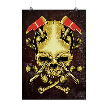 Matte or Glossy Poster with Axe Death Goth War Skull | Wellcoda | *d2789