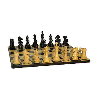 Black Pro Chess Set With Black/ Maple Board
