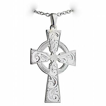 Silver 50x36mm hand engraved Celtic Cross with bail on a cable Chain 24 inches