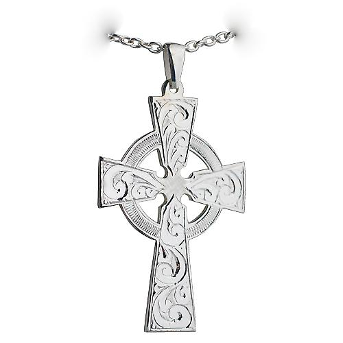 Silver 50x36mm Hand engraved Celtic Cross with a Cable Link